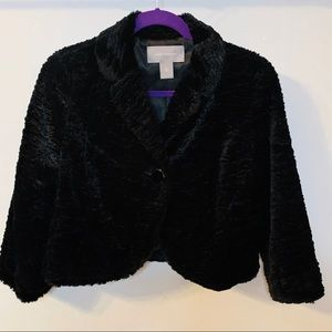 Ann Taylor Black Faux Fur Cropped Evening Jacket